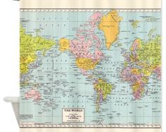 World Map Shower Curtain - Historical , colorful, vintage map - Home Decor - Bathroom - travel, blue, green pastel