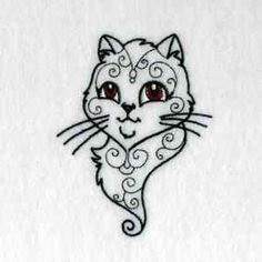 """Swirly Cat, Swirly Cat how are they stitching you? Sorry, I couldn't resist adding a little """"Friends"""" to this free embroidery design. :-)"""