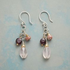 """SHADES OF LOVE EARRINGS -- Blushing rose quartz, red garnet, rhodonite, brass, 14kt gold-filled beads and rainbow moonstone shimmer in handcrafted jewelry made with love on these 'Shades of Love' earrings. Sterling silver wires. USA. Exclusive. 1-1/2""""L. #jewelryideas"""