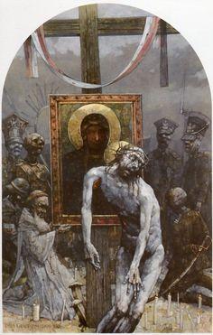 XIII Estación. El cuerpo de Cristo en brazos de su madre. Gólgota de Jasna Góra, del pintor polaco Jerzy Duda Gracz
