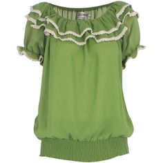 Lime ruffle neck top ($31) ❤ liked on Polyvore featuring tops, shirts, amy, green, brands at dp, women's clothing, green shirt, short sleeve tops, flutter-sleeve top and flutter sleeve top