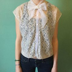 Blouse lace / Lace shirt by Outheblue on Etsy