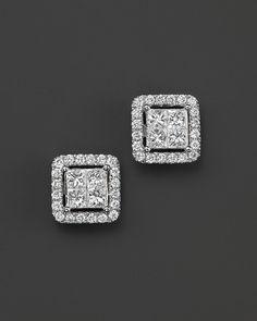 Bloomingdale's Diamond Princess Cut Halo Stud Earrings in White Gold, ct. – Exclusive Jewelry & Accessories – Bloomingdale's – Turquoise Jewelry Princess Cut Diamond Earrings, Solitaire Earrings, Diamond Pendant Necklace, Gold Earrings, Gold Bracelets, Diamond Stud Earrings, Tiny Earrings, Rose Necklace, Ear Jewelry