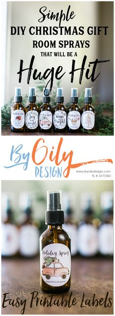 Check out these adorable DIY Christmas gifts room sprays with Essential Oils. The Free printable Christmas gift labels for the Essential oil spray bottles are so cute! I can't wait to give these as DIY Christmas gifts for teachers and inexpensive DIY Christmas gifts for friends and neighbors. I think they will be a huge hit. Don't forget to sign up for wholesale membership and get your essential oils with By Oily Design, She is always creating great DIY Recipes and Free Labels for her peeps…