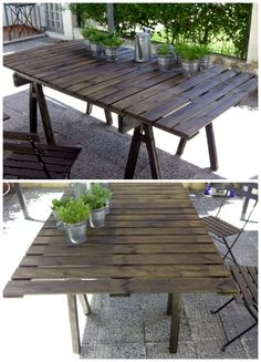 Pallet Outdoor Table #Garden, #PalletTable, #ReclaimedPallet