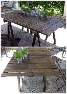 Pallet Outdoor Table #Garden, #PalletTable, #ReclaimedPallet