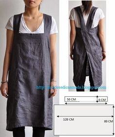 Work apron, another great idea from Moldes Moda por Medida. via moldes dicas moda Sewing Hacks, Sewing Tutorials, Sewing Crafts, Sewing Projects, Sewing Tips, Sewing Ideas, Diy Projects, Sewing Aprons, Sewing Clothes