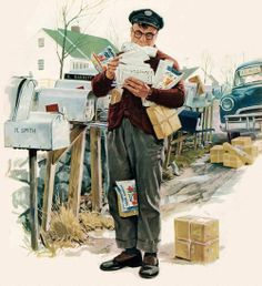 Rural Mailman - detail from cover of Collier's Magazine, March 21, 1953.