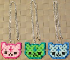 Cute Cat Perler Bead Necklaces/Magnets. Custom colors available! on Etsy, $5.00