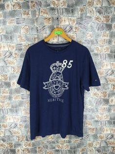 80aa6cfb63bbc5 TOMMY HILFIGER 85 Tshirt Mens Medium 90 s Vintage Tommy Jeans Heritage Sports  Hilfiger Denim Blue Tshirt Size M