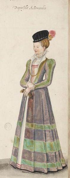 German partlet | 1570s German Young Lady from De Heere's Costume Book — Démodé