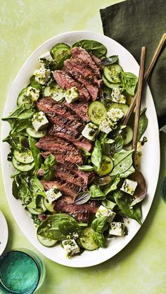 and Feta Salad Marinated feta makes this salad something special. Flavorful flank steak has a lot more going for it than just protein.Marinated feta makes this salad something special. Flavorful flank steak has a lot more going for it than just protein. Flank Steak Recipes, Beef Recipes, Salad Recipes, Cooking Recipes, Flank Steak Salad, Beef Salad, Water Recipes, Grilling Recipes, Chicken Recipes