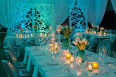"""On December 4, the Chicago Botanic Garden hosted its """"All Aboard"""" fund-raiser. After viewing the garden's elaborate, indoor miniature train set, guests had dinner in one of three dining rooms decorated by Event Creative. One room, with a """"Frozen Radiance"""" theme, used glossy all-white furniture and frosty blue lighting to create an icy look.  Photo: Courtesy of Chicago Botanic Garden"""