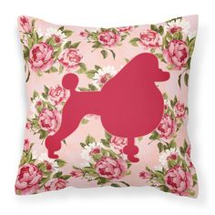 Poodle Shabby Chic Pink Roses Fabric Decorative Pillow BB1072-RS-PK-PW1414