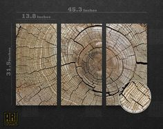 Wood vein Framed  Nature Photo LARGE Canvas Art Print Ready to Hang - 3 PANELS 048. $157.00, via Etsy.