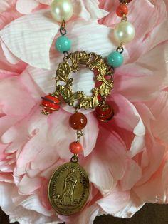 Holy Virgin Mary Medal Necklace by HerSavingGrace on Etsy