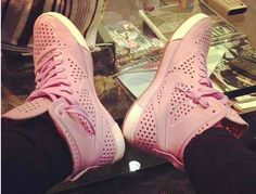 tae heckard nike royal air lite perforated pastel pink sneakers