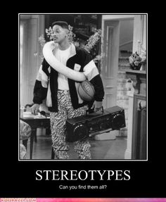 When this show was still airing during this period of time, it was during a period of time where the image of the black man was universal for all views. Stereotypes such as being athletic (basketball), Hip Hop (boombox), and dangerous (black man in a nice home) would seem like he was going to rob the house. Also the fact that the image is in black and white makes that fact that racism now and then are still very black and white. No other color are worth talking about.