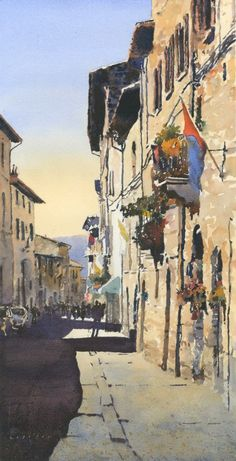 "Michael Reardon Watercolors    Via San Francesco, Assisi 20"" x 10"" 30 June 2015"