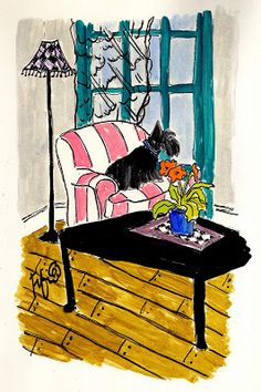 Fifi Flowers Painting du Jour Gallery: Dog waiting in a Pink Striped Chair