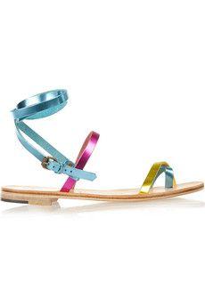 Álvaro Anna metallic leather sandals | NET-A-PORTER