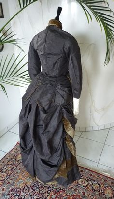1880's french bustle dress, quarter view back