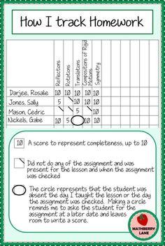 This is the parent input form that I use. I send this form home a ...