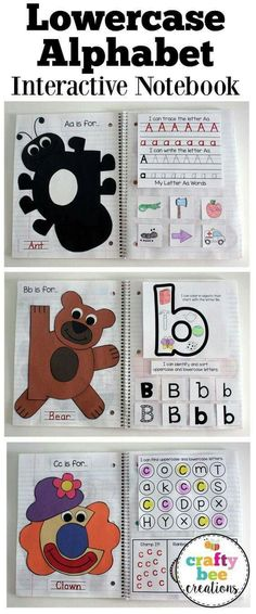 The Lowercase Interactive Alphabet Notebook is here! Great for letter recognition and writing while making a fun letter craft. Includes 3 different right side layouts and is great for a wide range of ages. Preschool Letters, Learning Letters, Preschool Classroom, Preschool Learning, In Kindergarten, Classroom Layout, Alphabet Crafts, Alphabet Book, Letter A Crafts