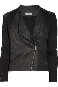Helmut Lang | HELMUT Helmut Lang Washed-leather and cotton-jersey biker jacket | NET-A-PORTER.COM