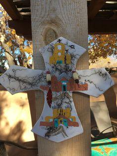 Handmade Ceramic Clay New Mexico Southwestern Horsehair fired Pueblo Church Cross $41