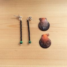Silver stick earrings, dangling earrings with malachite and onyx, handmade earrings by SamsabyElena on Etsy