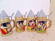 """Vintage Set of 4 German Beer Steins Signed Embossed Pewter Lids 7.5"""""""
