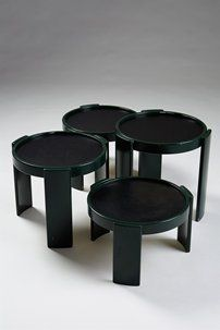 Nest of tables designed by Gianfranco Frattini for Cassina, Italy. 1970's.