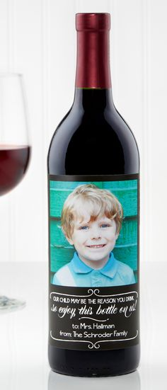 "HA!!! I LOVE this hilarious Personalized Wine Label for Teachers! It says ""Our Kid may be the reason you drink, so enjoy this bottle on us""! And you can personalize it with the teacher's name and your family name! This is the perfect End of Year Teacher Gift or the perfect gift for Teacher Appreciation Week!"