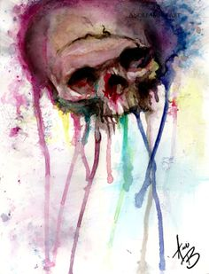 Pressure Art Print Abstract Surreal Skull Goth Edgy Punk Rainbow Horror