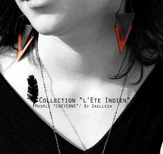 Collection HIVER 2014-2015 / L'Eté Indien de ZAELLEZA / Boucles d'oreille CHEYENNE #cuir #eteindien #zaelleza