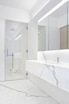 Small bathroom renovation. Gorgeous light colours, frameless glass and floating vainly are all good ideas for a small bathroom.