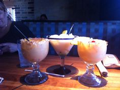 At Chedders .... Pain killer drinks!! Had them with my Brother in Fl and loved them. Painkiller drink recipe: Ingredients: 2 ounces Pusser's dark rum, 1 ounce cream of coconut, 4 ounces pineapple juice, 1 ounce orange juice, nutmeg. Directions: 1. Shake or stir ingredients, and pour over ice in a tall glass. Sprinkle nutmeg on top, and serve. Garnish with pineapple and coconut flakes!
