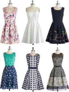 ModCloth spring 2014 dresses. All would look amazing with Mialisia versastyle jewelry!