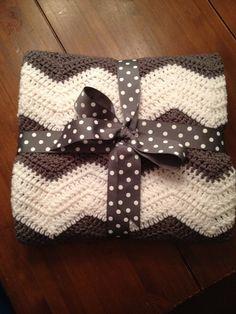 Chevron Crochet Baby Blanket  by HomemadeByBobbi on Etsy, $45.00
