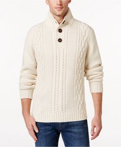 Weatherproof Vintage Men's Cable-Knit Sweater, Only at Macy's - Sweaters - Men…
