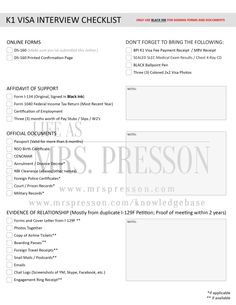 K1 Visa Requirements Checklist | K1 Fiancé(e) Visa | ©2014, Life As Mrs. Presson (www.mrspresson.com) Fiance Visa, Money Chart, Immigrant Visa, Confirmation Page, Distance Relationships, New Wife, Lovey Dovey, Marry You, Things To Know