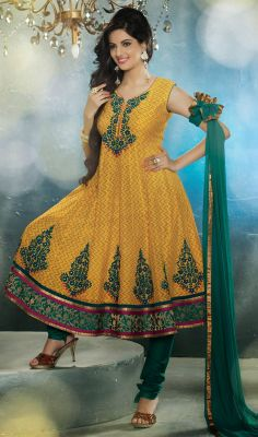 Yellow and Green Chanderi Anarkali Churidar Suit  #salwarkameez-style #cotton-salwarkameez Price:British UK Pound £82, Euro101, Canada CA$151, Indian Rs.7452