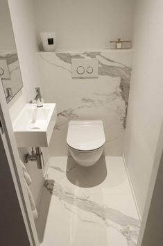 Space Saving Toilet Design for Small Bathroom - Home to Z In the event that you are one of the a huge number of individuals around the globe who needs to bear the claustrophobia of a little restroom, help is within reach. Grey Bathroom Tiles, Downstairs Bathroom, Grey Bathrooms, Modern Bathroom Design, Bathroom Flooring, Bathroom Furniture, Bathroom Interior, Small Bathroom, Bathroom Storage