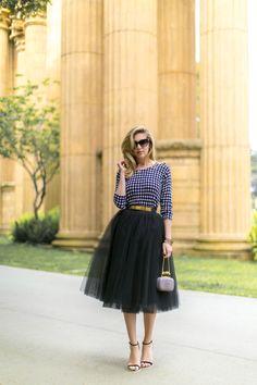 black tulle skirt and Polka dot shirt