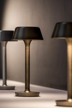 is an outdoor battery table and peg lamp. The removable head contains magnetic coupling system, rechargeable battery via USB-C. Design by Matteo Thun. Outdoor Table Lamps, Table Lamps For Bedroom, Black Table Lamps, Led Ceiling Lights, Room Lights, Lamp Design, Lighting Design, Porch Light Fixtures, Interior Design