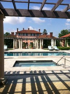 Glenmere Mansion:  the pool area, looking back to mansion.