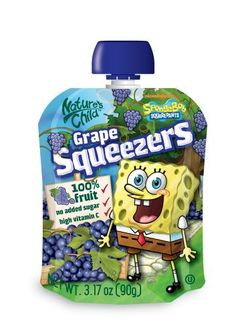 Natures Child Squeezers, SpongeBob Grape, 3.14-Ounce (Pack of 60)