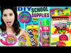 DIY Candy School Supplies | Push Pop Pen, Ring Pop Eraser, Hubba Bubba Tape, Skittles Push Pins! - YouTube