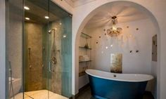 The master suite includes a dual shower and soaking tub. Frank Zappa's home in Laurel Canyon